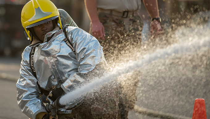 Coalition forces partner to fight fire